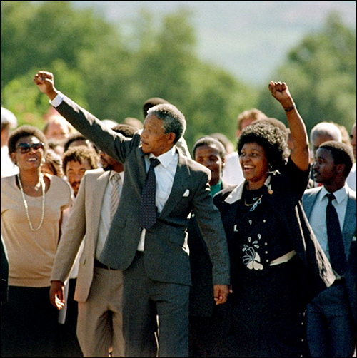 Nelson Mandela upon release from prison